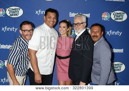 LOS ANGELES - SEP 16:  Will Greenberg, Geno Segers, Anna Camp, Bradley Whitford,  Rizwan Manji at the NBC Comedy Starts Here Event at the NeueHouse on September 16, 2019 in Los Angeles, CA