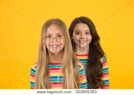poster of For any hair type. Blonde and brunette. Healthy and shiny hair. Kids cute children with long hairstyle. Hairdo tips. Long hair feminine attribute. Girls let their hair grow long. Natural beauty.