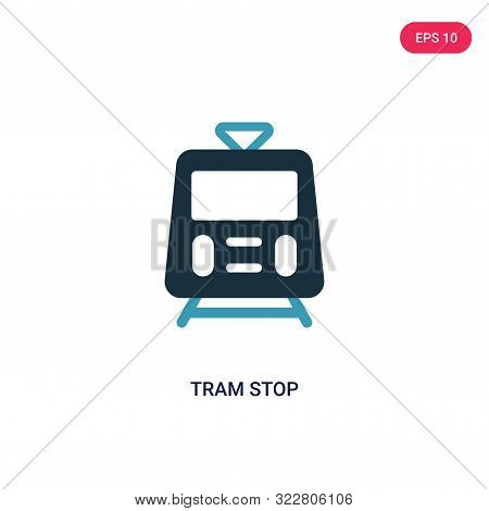 tram stop icon in two color design style.