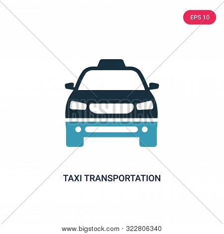 taxi transportation car from frontal view icon in two color design style.