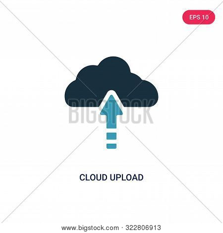 cloud upload icon in two color design style.