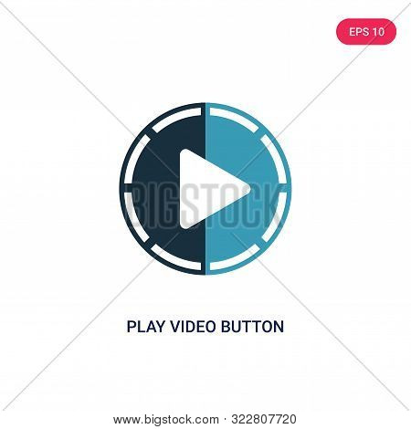 play video button icon in two color design style.