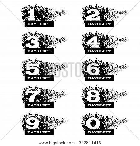 Black Grunge Day Left Number Set  Design On A White Bg Eps 10 Vector