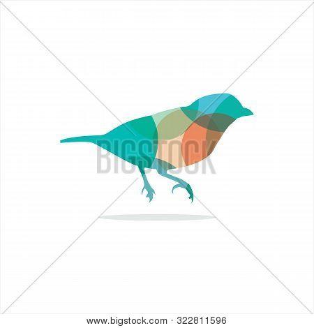 Colorful Bird Logo Design, Sparrow, Colorful Illustration.