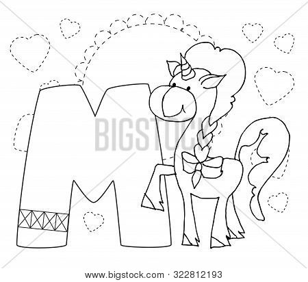 Letter M And Funny Cartoon Unicorn. Animals Alphabet A-z. Coloring Page. Printable Worksheet. Handwr
