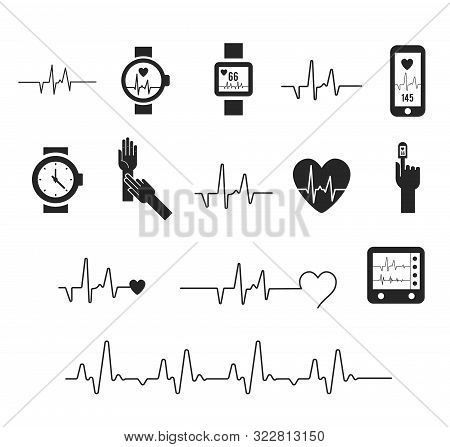 Electrocardiogram, Ecg Or Ekg - Medical Vector Icons. Fitness And Gym Line Icons. Cardiogram On Whit
