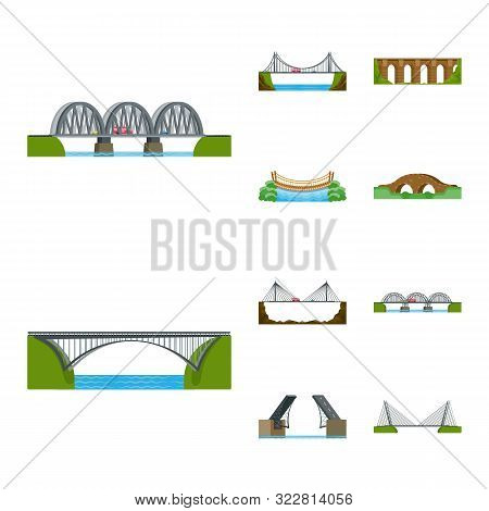 Vector Design Of Bridgework And Bridge Logo. Collection Of Bridgework And Landmark Stock Vector Illu
