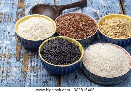 Different Types Of Rice, White Basmati, Jasmine, Arborio, Brown And Black