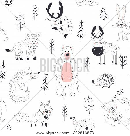 Forest Animal Seamless Pattern Woodland Childish Print In Scandinavian Decorative Style. Seamless Ch