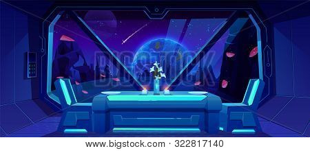 Futuristic Cafe With Spaceship View On Earth At Night From Alien Planet. Served Table And Chairs Sta