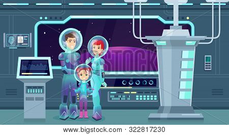 Astronauts Family Flat Vector Illustration. Cheerful Mother, Father And Daughter In Spacesuits Carto