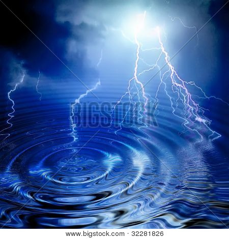 Lightning and water ripple in blue color