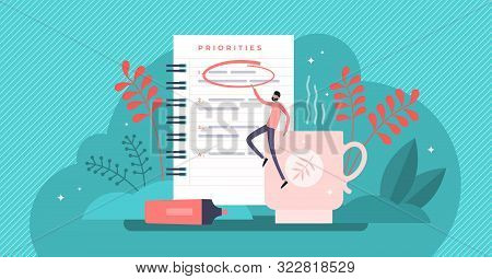 Priorities Vector Illustration. Flat Tiny Agenda Importance To Do List Persons Concept. Work Plannin