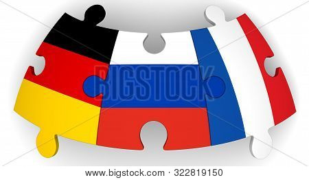 Cooperation Of Russia, Germany And France. Puzzles With Flags Of Russian Federation, Germany And Fra
