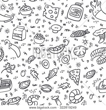 Protein Seamless Pattern. Background With Healthy Food And Nutrition. Outline Food Pattern With Pork
