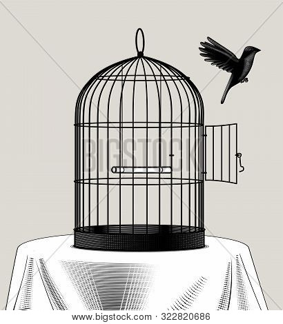 Bird Cage And A Black Bird Flying Away