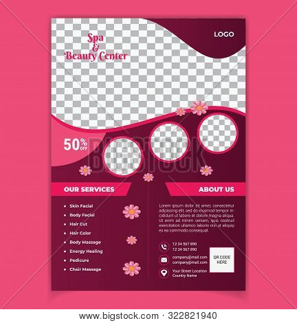 Beauty Salon And Spa Flyer Vector Template