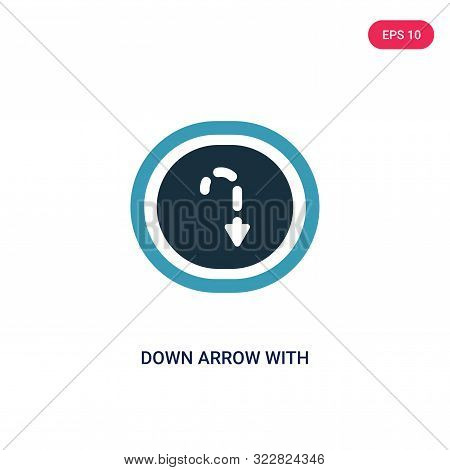 down arrow with broken lines icon in two color design style.
