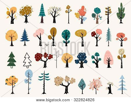 Set Of Trees In A Flat Style. Tree Icons Set In A Modern Flat Style. Pine, Spruce, Oak, Birch, Trunk