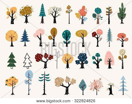 Set Of Trees In A Flat Style. Tree Icons Set In A Modern Flat Style. Pine, Spruce, Oak, Birch, Trunk