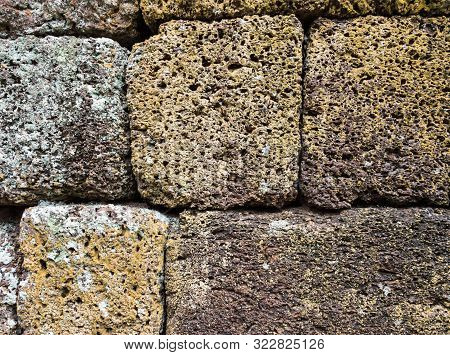 Closeup Of The Laterite Brick Wall In The Ancient Temple.