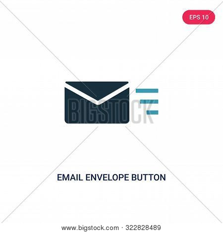 email envelope button icon in two color design style.