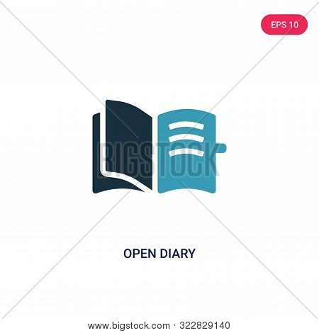 open diary icon in two color design style.