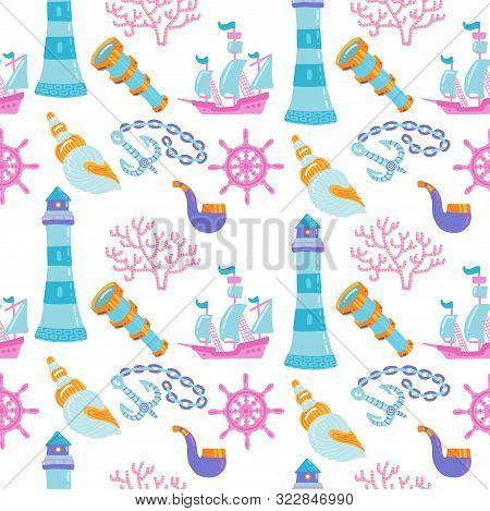 Cartoon Hand-drawn Nautical Marine Seamless Pattern With Hand Drawn Ship, Seashells, Lighthouse And