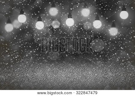 Nice Glossy Abstract Background Light Bulbs With Sparks Fly Defocused Bokeh - Festal Mockup Texture