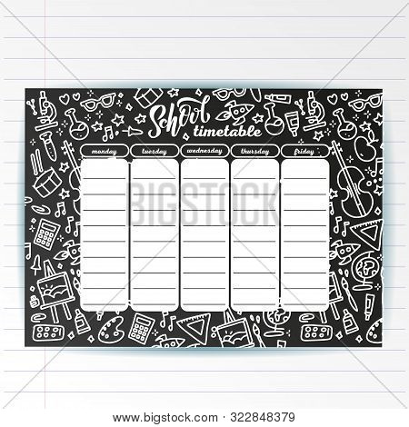 School Timetable Template On Chalk Board With Hand Written Chalk Text And Adventure Sea Symbols. Wee