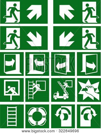 Collection Of Current Escape Signs (escape Routes) According To Asr (a1.3) / Iso Eps 10 Vector File
