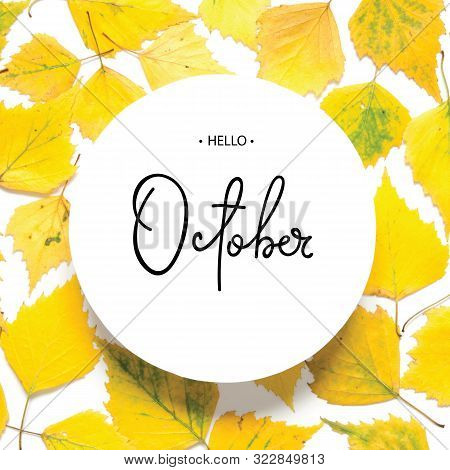 Inscription Hello October. Pattern Of Yellow Autumn Leaves Isolated On White. - Image