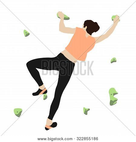 Woman Climbs A Climbing Wall In A Climbing Gym Isolated On A White Background. Vector Illustration.