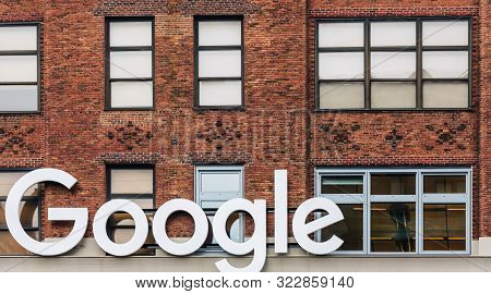 New York, Usa - Apr 29, 2016: Google New York Office. The Ninth Avenue Facade Featuring The Google C