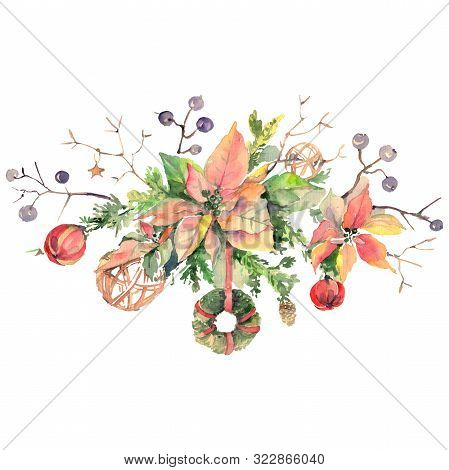 Bouquet Chrismas Symbol Isolated. Watercolor Background Illustration Set. Isolated Bouquet Illustrat