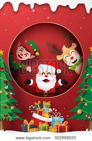 Origami Paper Art Of Santa Claus, Reindeer And Elf At The Window With Christmas Gift, Merry Christma