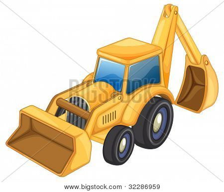 illustration of tractor jcb on a white background - EPS VECTOR format also available in my portfolio.