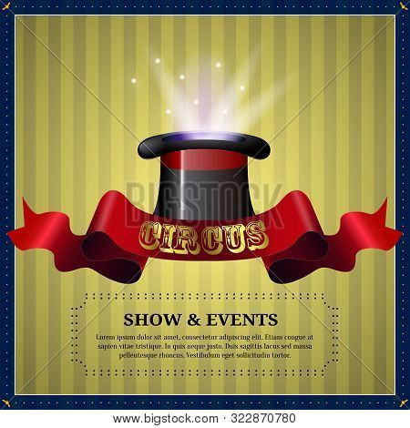 Circus Poster Image With A Magician Top Hat - Vector
