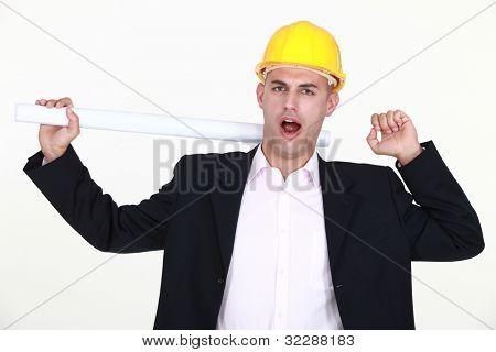 Architect yawning