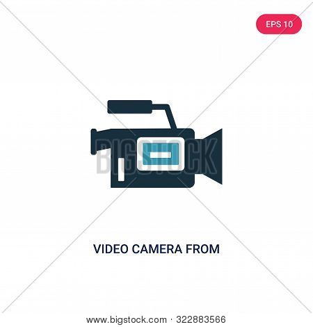video camera from side view icon in two color design style.
