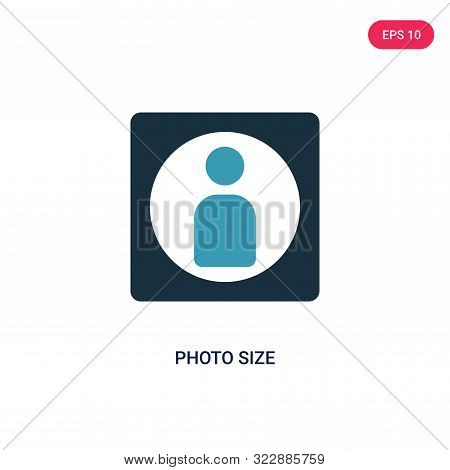 Photo Size Icon In Two Color Design Style. Photo Size Vector Icon Modern And Trendy Flat Symbol For