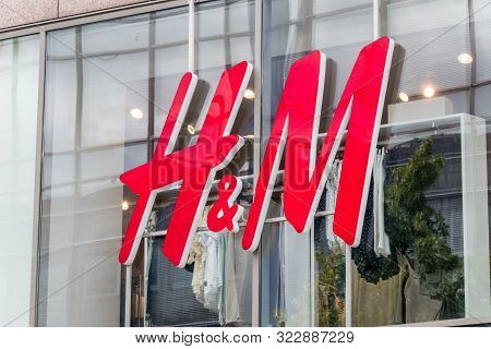 Hanover, Germany - June 8, 2019: Close-up Of H&m Logo. H & M Hennes & Mauritz Ab Is A Swedish Multin