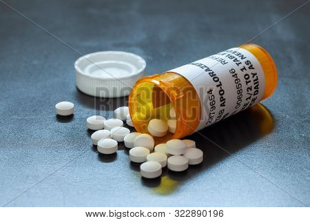 Prescription Bottle With Backlit Lorezapam Tablets. Lorezapam Is A Generic Prescription Anti-anxiety