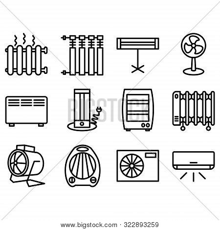 Set Icons Of Heaters, Household Appliances On A White Background. Radiator, Heater, Heat System Line