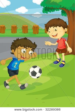 Kids playing soccer in the park - EPS VECTOR format also available in my portfolio.