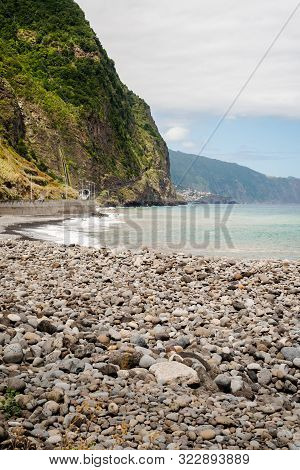 The Green Beach Of Madeira On A Sunny Day