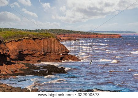 Sandstone cliffs along the north shore of Prince Edward Island, Canada in PEI National Park.