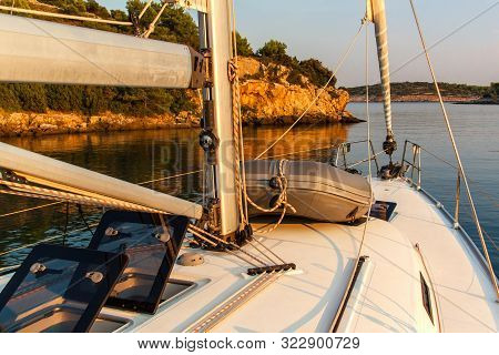 Evening On A Yacht In The Bay. Evening Light On The Sea. Sailing Holidays In Croatia. Romance Of Yac
