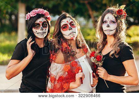 Portrait Of Calavera Catrina. Young Women With Sugar Skull Makeup. Dia De Los Muertos. Day Of The De