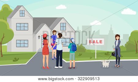 Couple Buying Home Flat Vector Illustration. Real Estate Agent Showing Cottage, Townhouse To Buyers